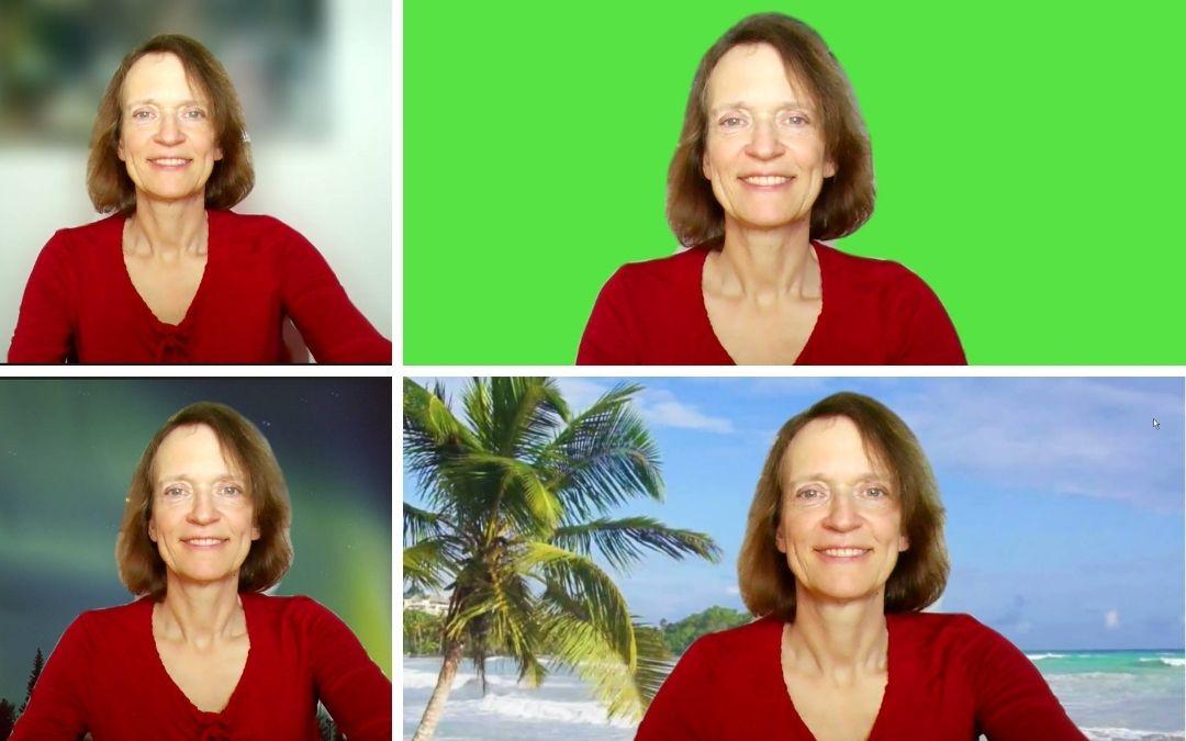 Eine Frau sitzt vor vier verschiedenen Arten von Videohintergrund